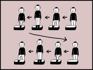 踏み台昇降運動のやり方を説明している画像