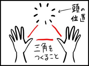 三点倒立の際の手と頭の位置