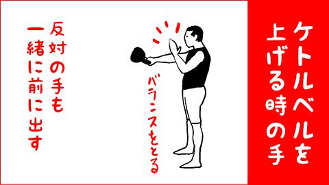 片手のケトルベルスイングのやり方3