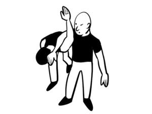 肩を極めている状態で凶悪犯を連行している様子のイラスト