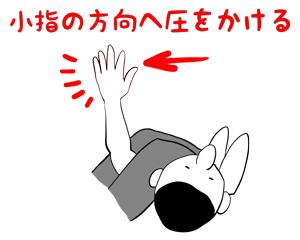 腕十字は小指の方向へ圧をかけるのが重要だと説明しているイラスト