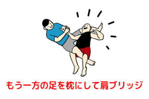 腕十字の逃げ方で相手の足を枕にブリッジしているところ