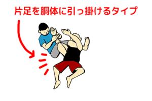 腕十字で片足を胴体に引っ掛けるタイプ