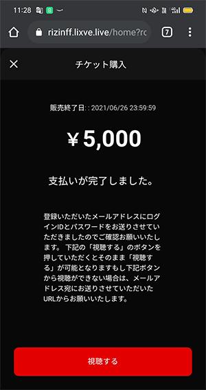 RIZIN(ライジン)ライブ配信チケット購入が完了したところ
