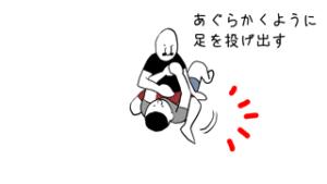 マウントからの腕十字であぐらをかくように足を投げ出すところのイラスト
