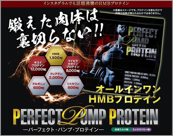 パーフェクトパンププロテインの公式サイトの広告