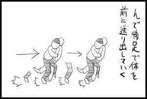 大外刈の足の掛け方を説明した図解イラスト