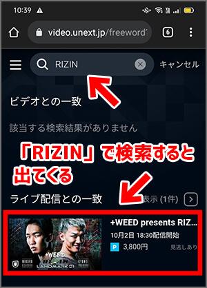 RIZIN LANDMARKの視聴チケット購入手順1