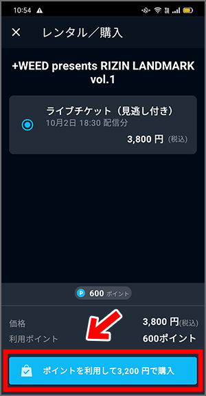 RIZIN LANDMARKの視聴チケット購入手順6